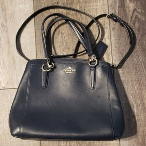 Navy blue leather coach bag